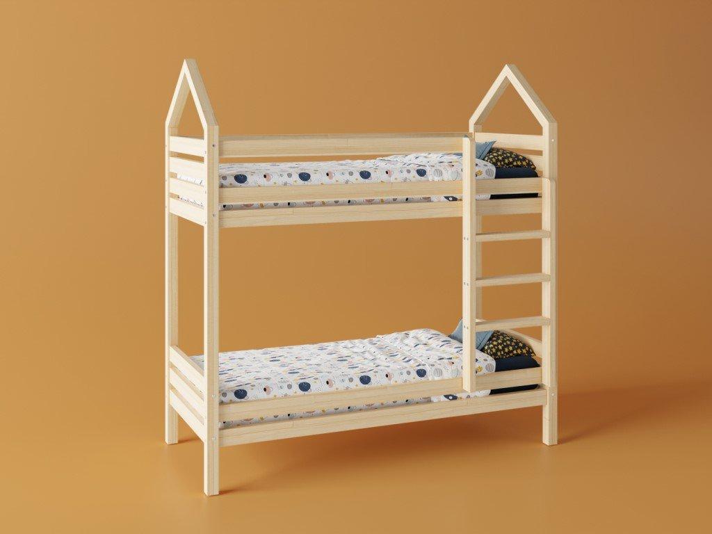 Kvalitná poschodová posteľ v obľúbenom dizajne, domček pre pokojný spánok aj denné detské hry.