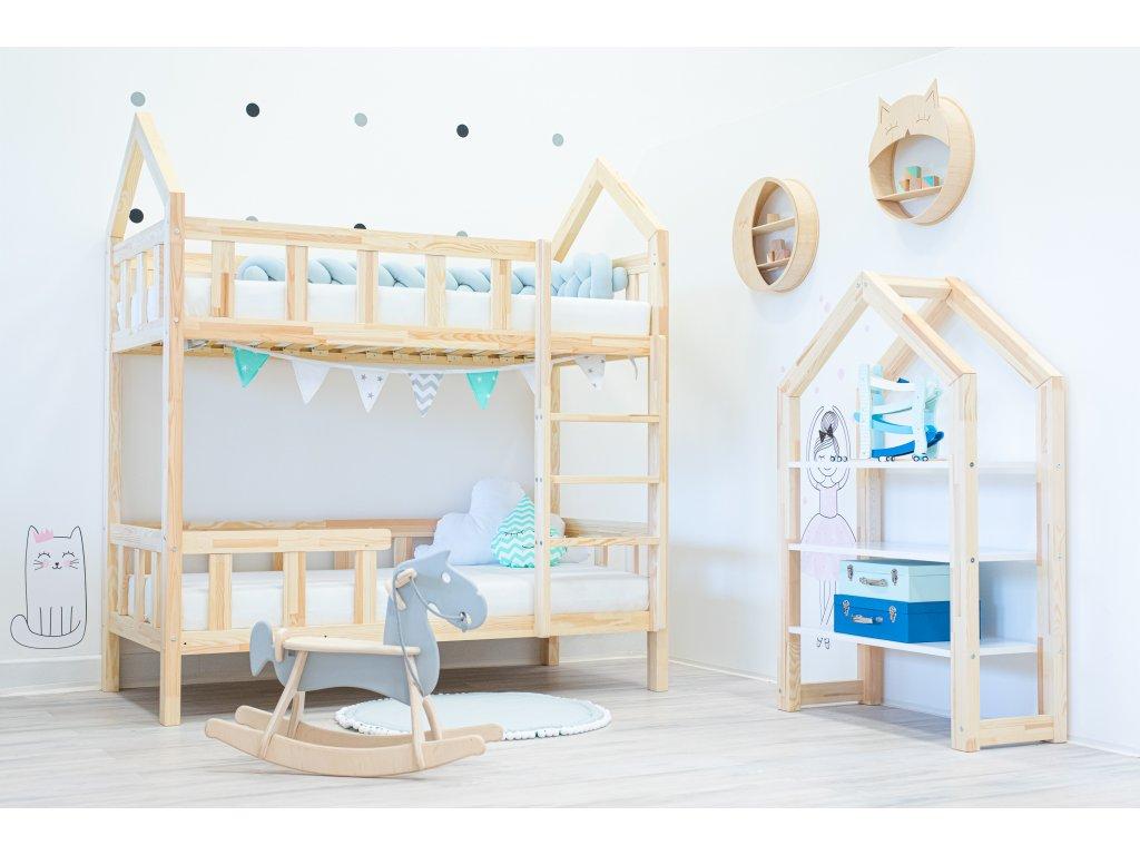 Domčeková poschodová posteľ Premium so zvislou zábranou