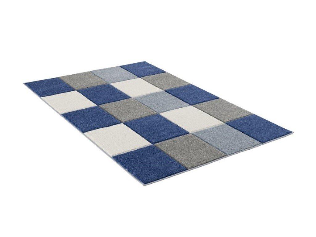 Detský koberec - Šachovnica tmavo modrá