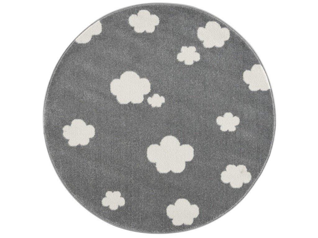 dizajnový okrúhly koberec do izby s obláčikmi