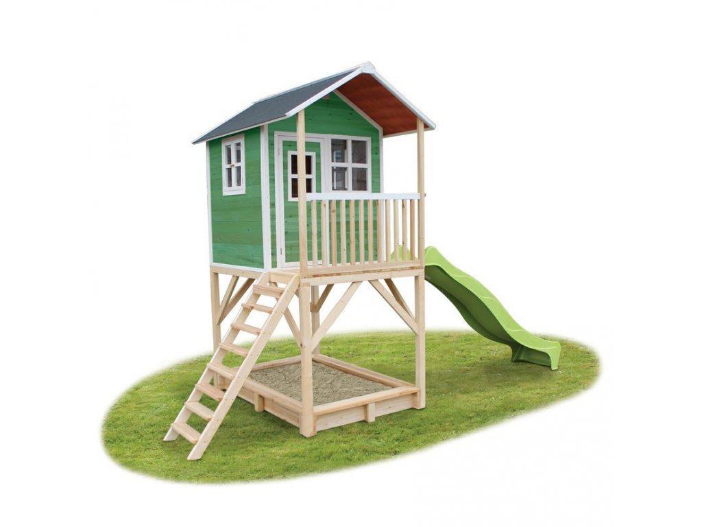 detsky zeleny maly zeleny domcek s pieskoviskom na záhradu ideálny pre deti z cedroveho dreva na nozickach se skluzavkou a piskovistem