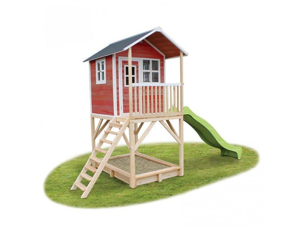 maly cerveny detsky zahradny domcek v cervenej na nozkach je miestom pre hru zabavu i odpocinok
