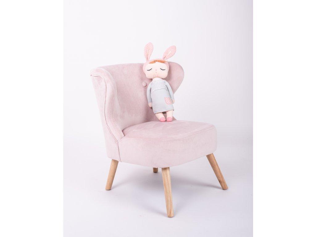 detské kreslo ružové zamat