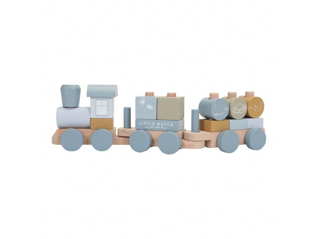 drevený vláčik s kockami modrý