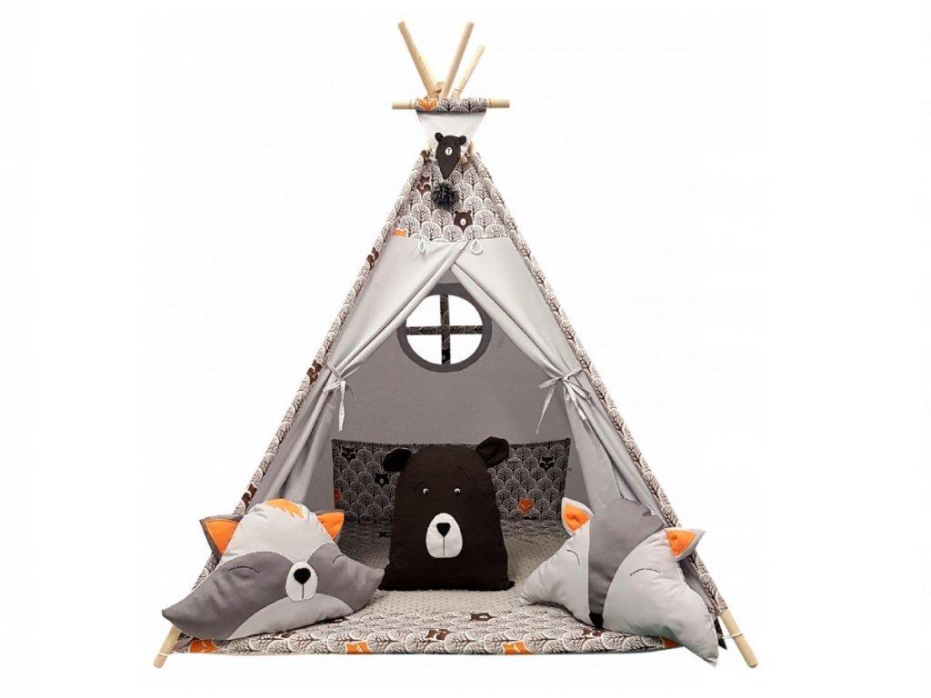 Roztomilý detský teepee stan s lesnými zvieratkami