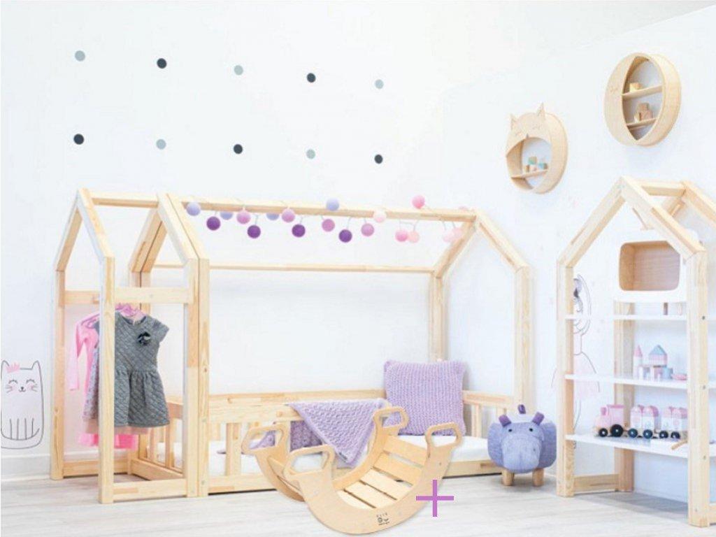 kvalitná detská posteľ z masívu borovica domčeková posteľ spolu vo výhodnom sete s montessori hodjačkou drevenou, ktorá má 5 možností využití a zabaví vaše deti a rozvíja ich motorické schopnosti.
