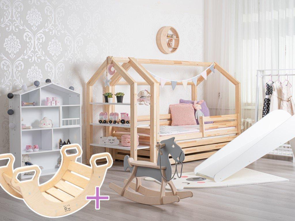 domčeková posteľ eco premium s pevnejšou konštrukciou a montessori hojdačkou zdarma vo výhodnom sete
