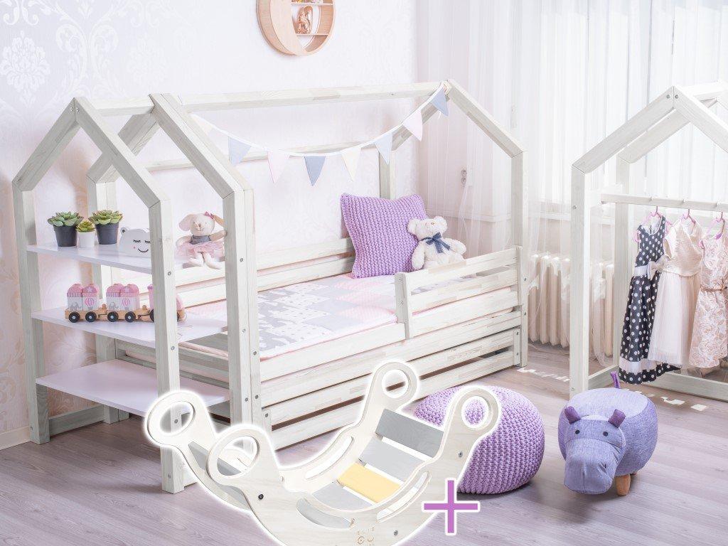 domčeková posteľ eco premium biela s pevnejšou konštrukciou a montessori hojdačkou zdarma vo výhodnom sete