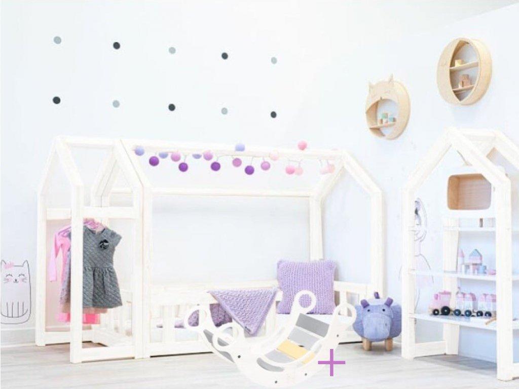 Set bílé dětského domečkové postýlky a bílé montessori houpačky 5v1