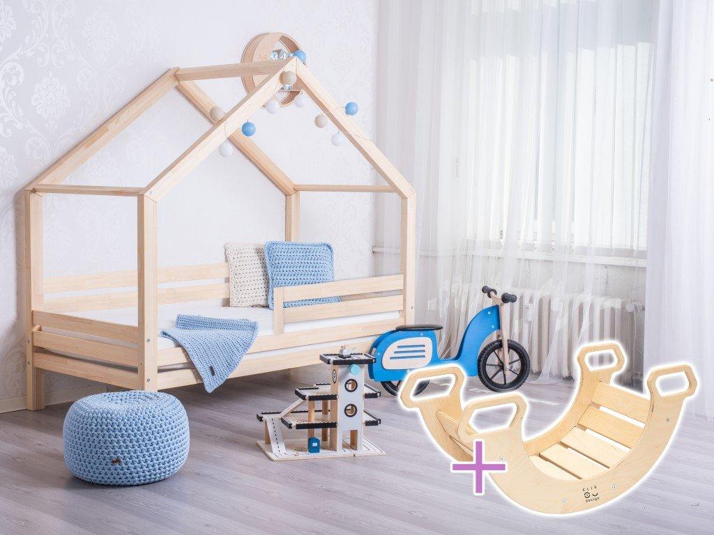 domčeková posteľ dominant premium s pevnou trámovou konštrukciou pre deti v prevedení natur