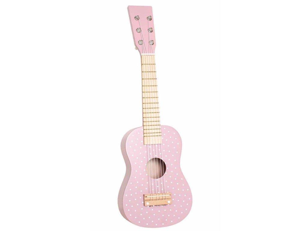 Drevená gitara pre dievčatká v ružovej farbe s bodkami