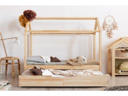 Šuplík pod domčekovú posteľ využijete ako úložný prostor, ale aj ako alternativne lôžko pre malých návštevníkov