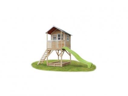 maly natural domcek do zahrady so smyklavkou a pieskoviskom pre deti