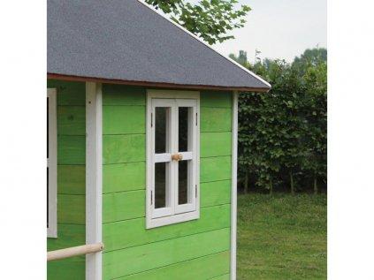 maly zeleny domcek s pieskoviskom na záhradu ideálny pre deti