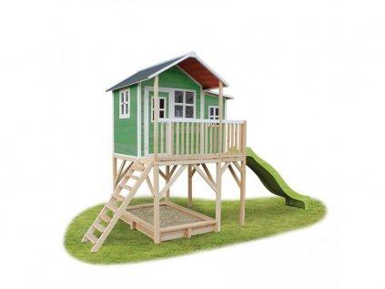 velky zeleny zahradny domcek pre deti na nozkach s pieskoviskom