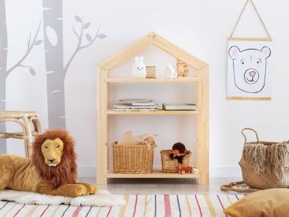 detská knižnica domček do detskej izby, ktorú možno použiť aj ako detský regál domček alebo rastúci stôl pre deti