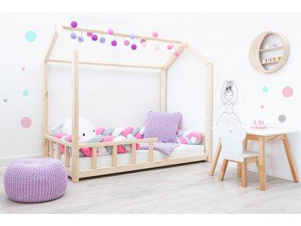naturálna rastúca detská posteľ z masívu domček