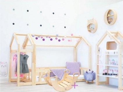 domčeková posteľ z kvalitého borovicového dreva opracovaná dohladka je ideálnou detskou posteľou pre všetky deti. Teraz vo výhodnom sete s montessori hojdačkou zadarmo.