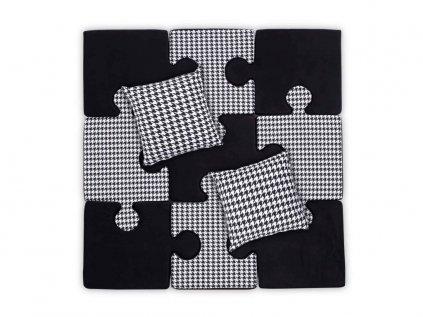 Puzzle deka s vankúšmi- čiernobiela