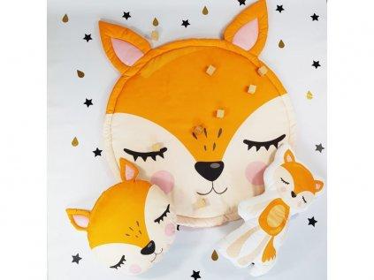 Krásny set deka, vankúš a postavička líšky