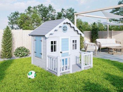 Originálny a kvalitný drevený domček pre deti s terasou na záhradu