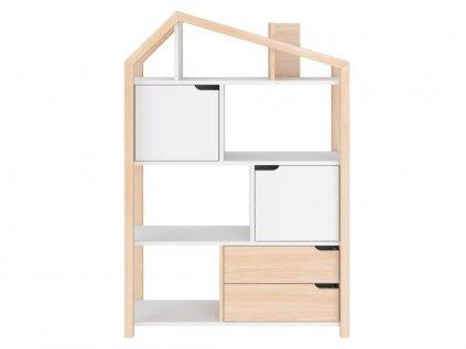 Prírodný variant detského domčekového regálu i knižnice v jednom