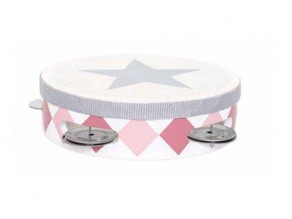 Ružová tamburína s bubienkom pre dievčatká