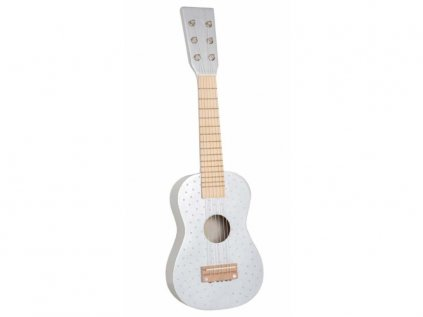 Drevená gitara strieborná s bodkami pre chlapcov a dievčatá