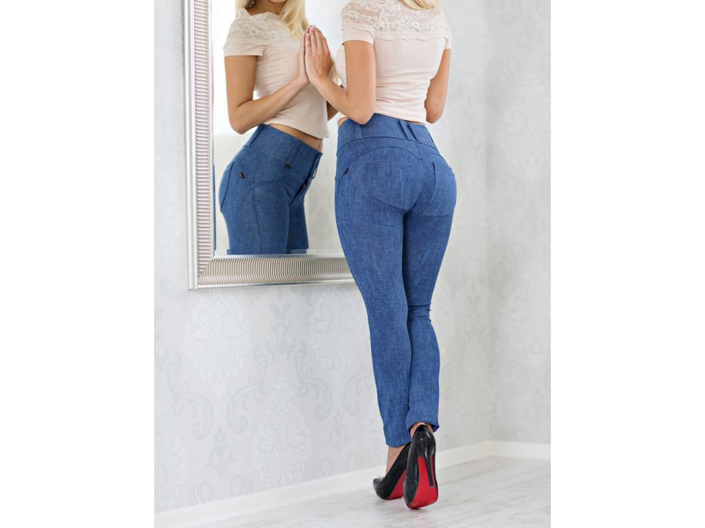 6da888a9154 Leg-Jeans 2v1 PUSH-UP nižší pas ATAS riflová - ELISEN