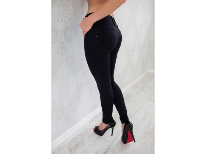 Leg-Jeans 2v1 PUSH-UP nižší pas ATAS černé