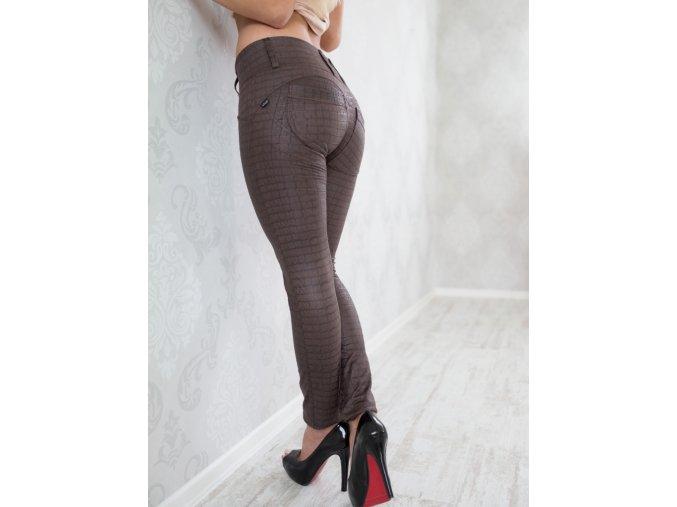 Legíny s PUSH-UP efektem (Leg-Jeans), vysoký pas ATAS hnědá - imitace kůže