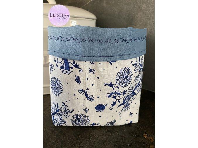 Látkový košík modrý s kytičkami se světle modrou velký (1) logo