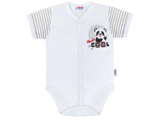 Kojenecké celorozepínací body s krátkým rukávem New Baby Panda (1)