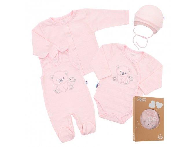 Kojenecká soupravička do porodnice New Baby Sweet Bear růžová (1)