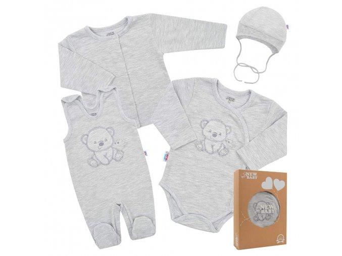 Kojenecká soupravička do porodnice New Baby Sweet Bear šedá (1)