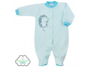 Kojenecký overal z organické bavlny Koala Lesní Přítel modrý