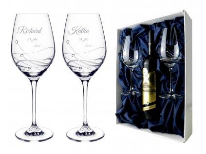 Classic 360 svadobne pohare v boxe pre flasu vina