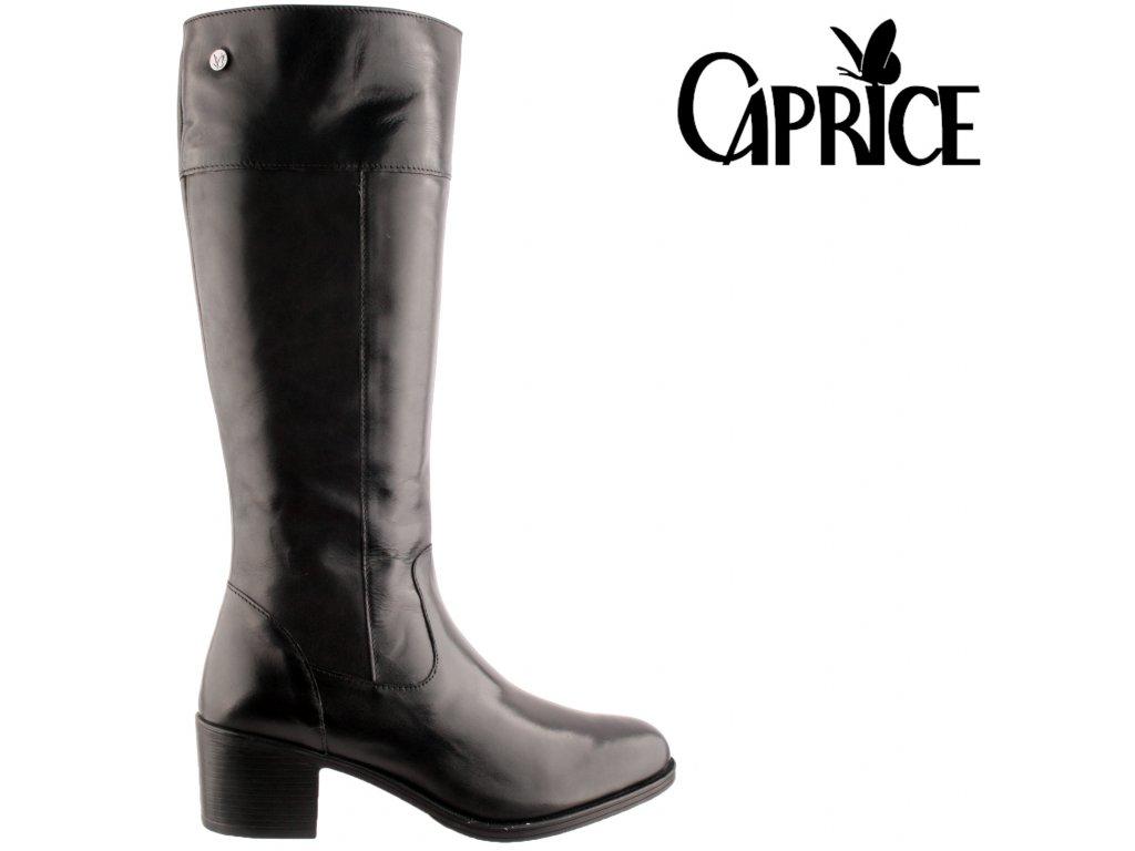 Kožené černé dámské kozačky na podpatku 9-9-25551-25 022 CAPRICE