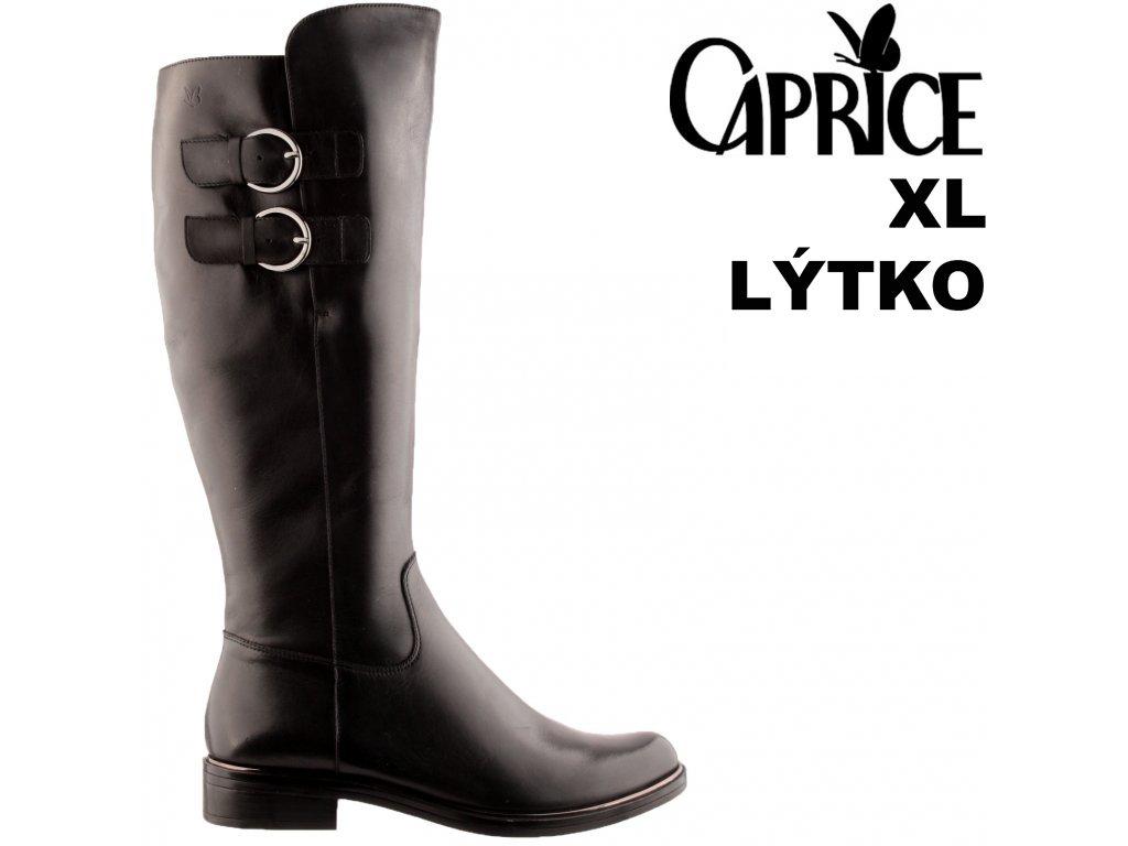 Dámské černé kožené kozačky na podpatku s gumou Caprice 9-25530-27 022