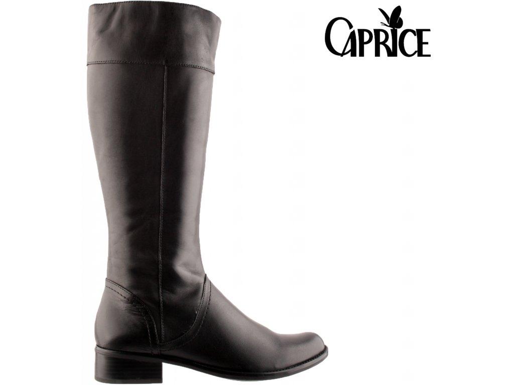 Dámské černé kožené kozačky na podpatku Caprice 9-25511-27 022