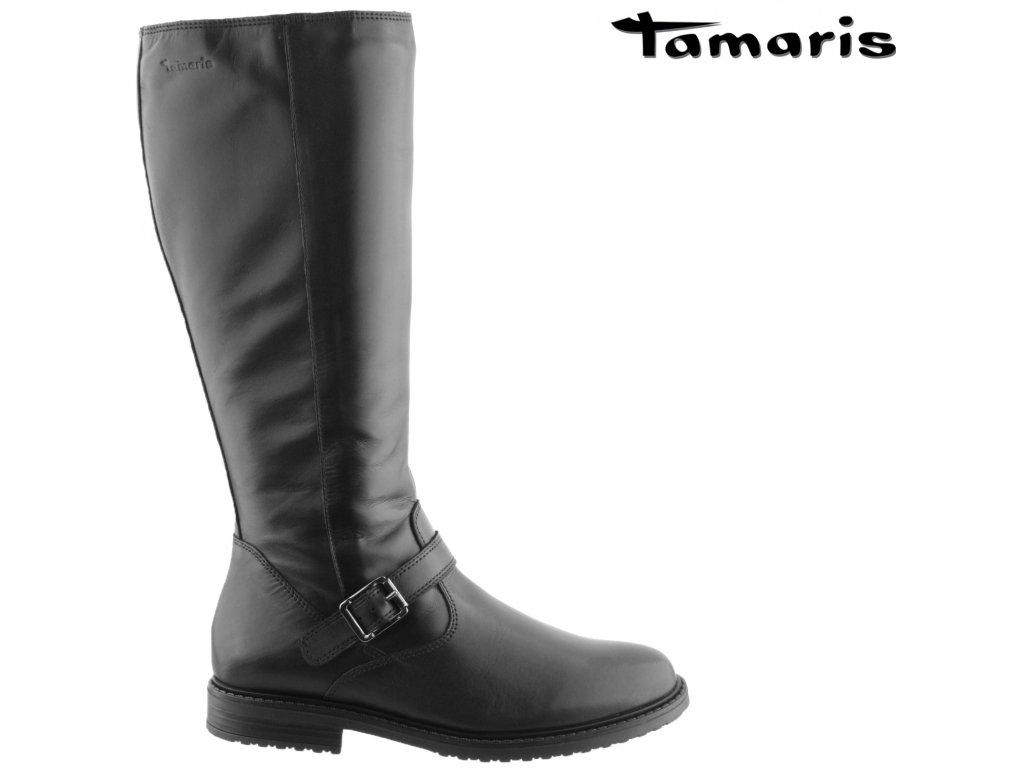 Dámské černé kožené kozačky na podpatku Tamaris 1-25626-27 001