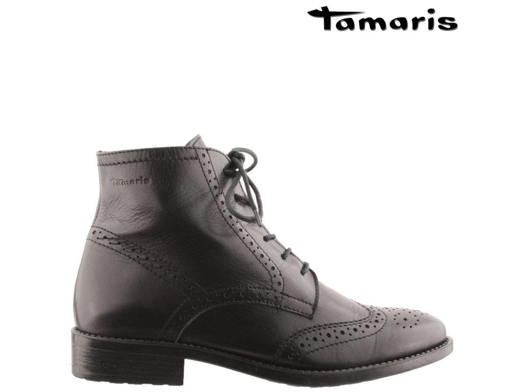 Dámské kožené kotníkové kozačky na podpatku Tamaris 1-25126-25 sleva 37985937
