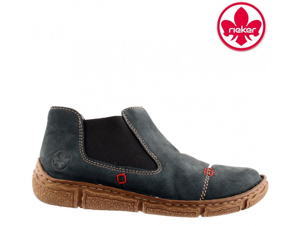 Dámské modré sportovní boty na klínku s kožíškem L3790-14 RIEKER 2020 sleva