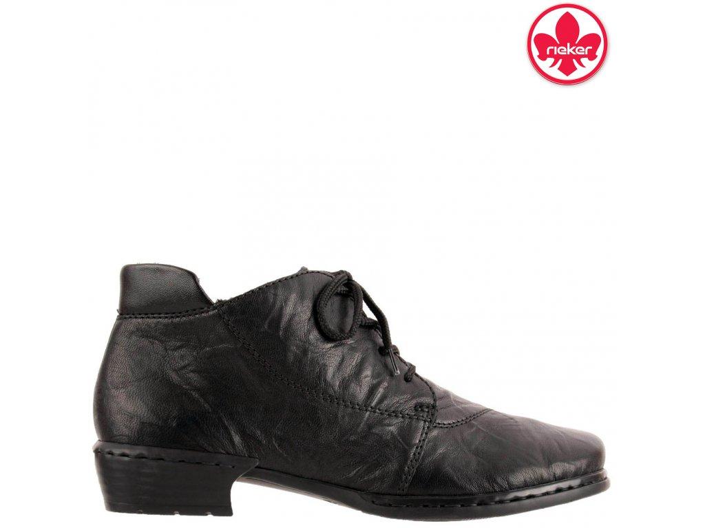 Kožené dámské zateplené černé kotníkové boty se šněrováním na podpatku Rieker 52240-00