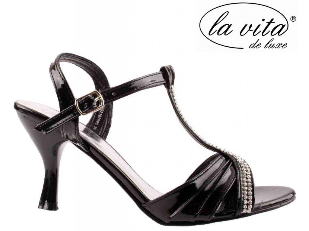 Černé páskové dámské plesové společenské boty JF652187066 La Vita
