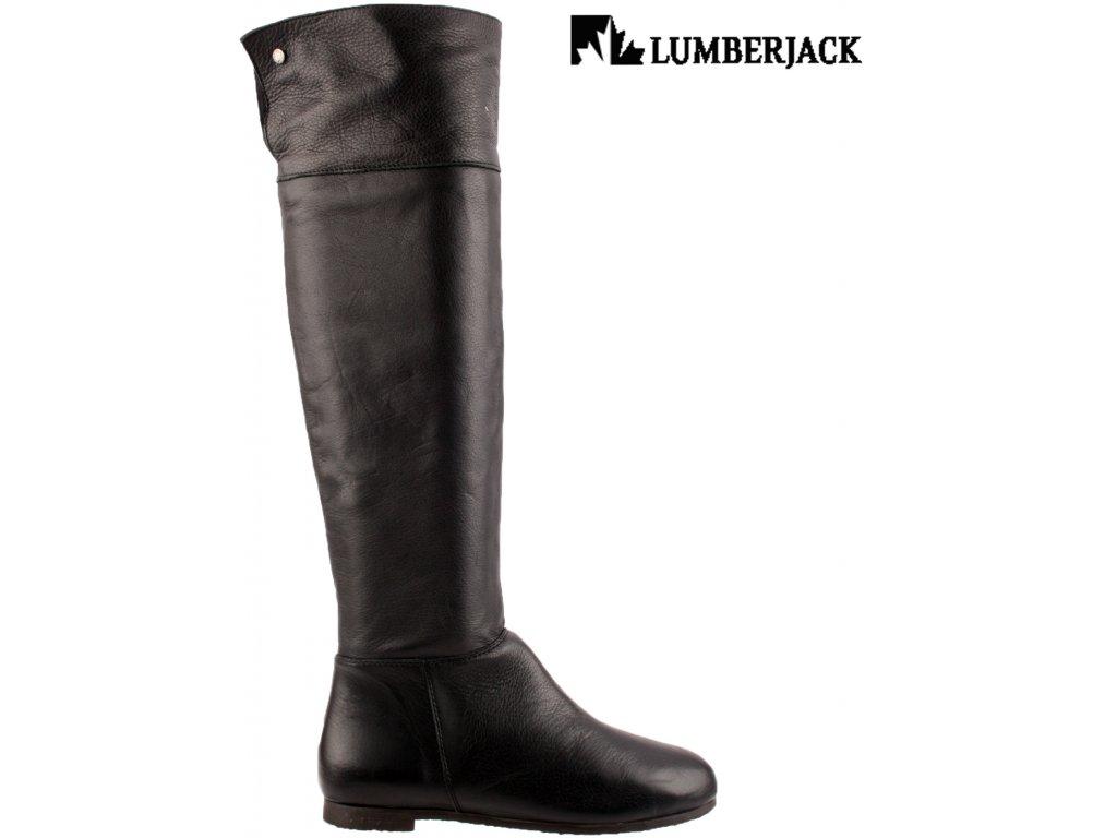 Kožené Nappa černé dámské vysoké kozačky se zipem LumberJack p11276