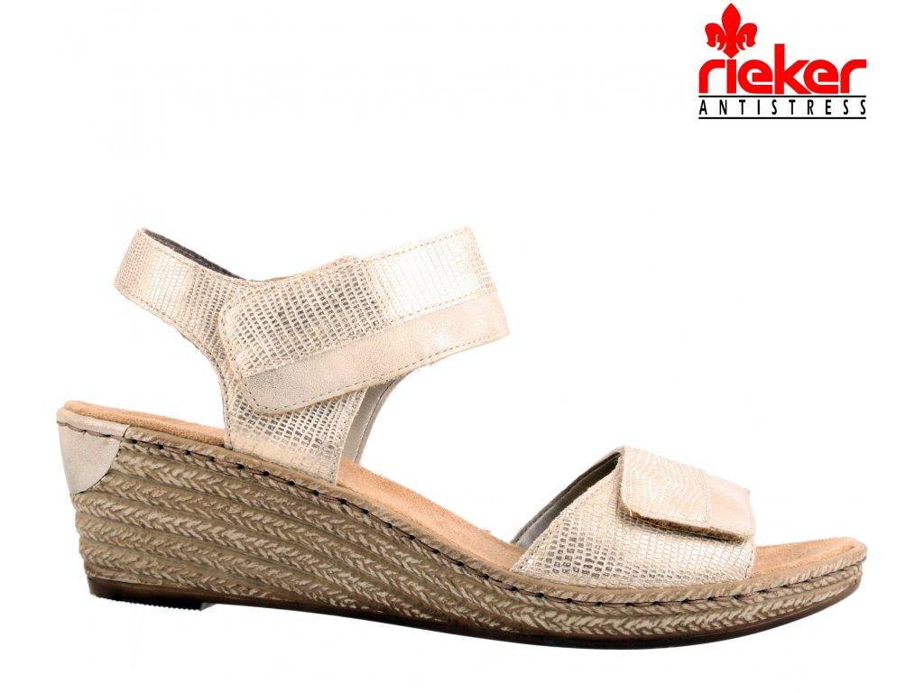Béžové zlaté pohodlné dámské zdravotní sandály na klínku 62470-90 Rieker výprodej
