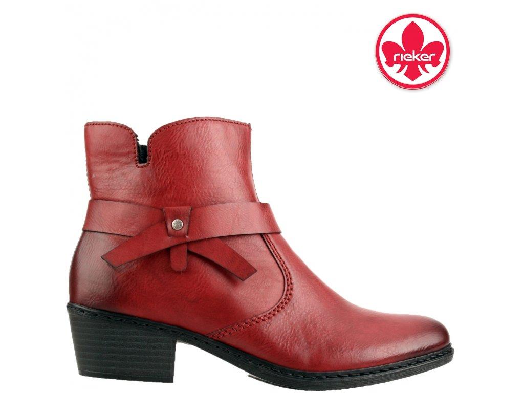 Dámské bordó vínové červené kotníkové zimní boty se zipem RIEKER 961620