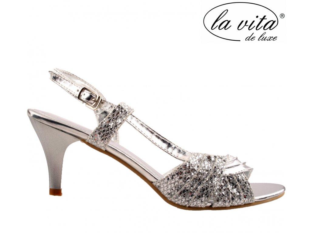 Stříbrné páskové plesové společenské lodičky sandály na podpatku JF-759417-015 La Vita