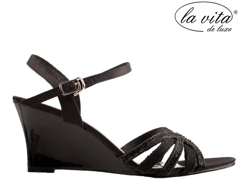 Černé páskové plesové společenské sandály lodičky na klínku JF-759418-060 La Vita